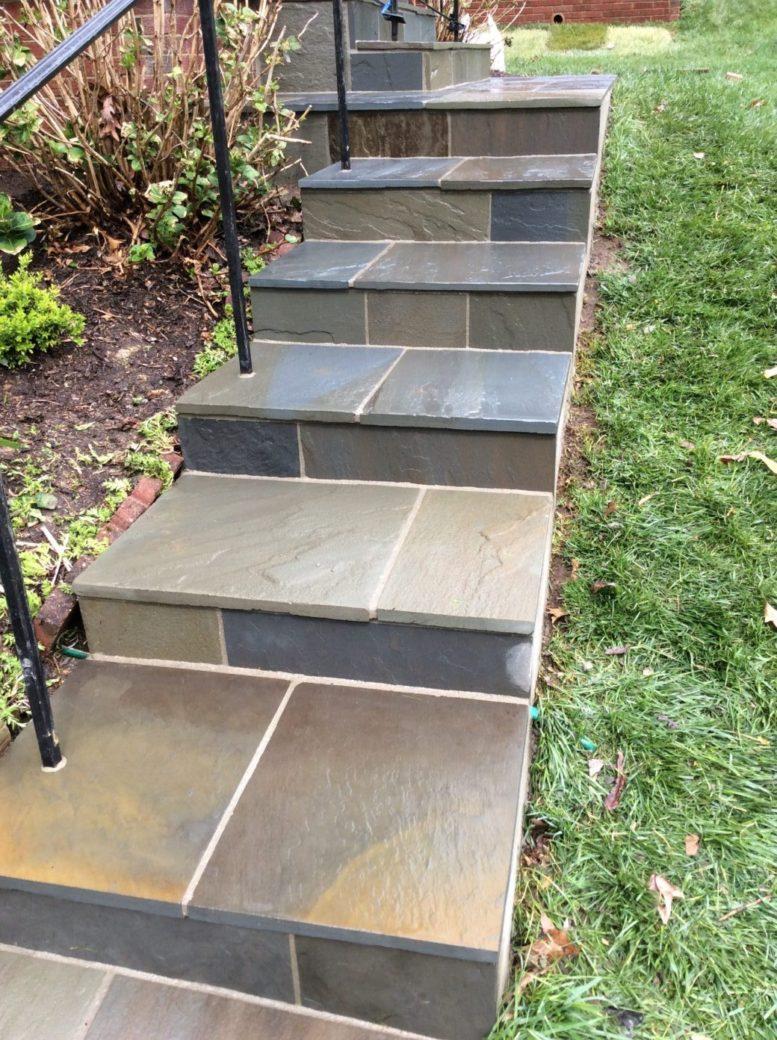 Flagstone Steps With Rail By Capital Masonry