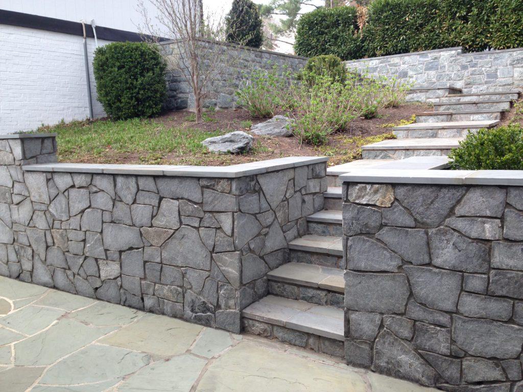 Elegant Stone Wall and Step path by Capital Masonry